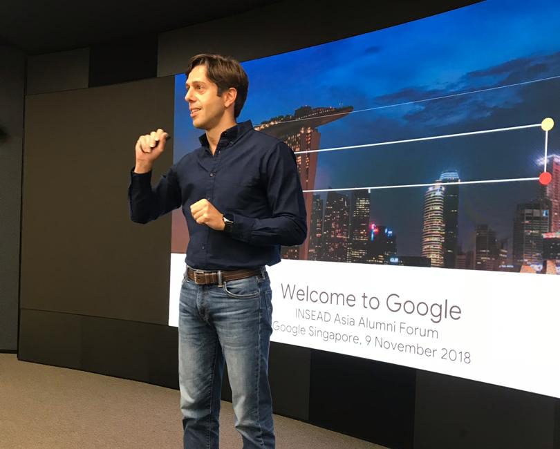 Gilberto Gaeta MBA'07D at the Google office in Singapore during the alumni company visit.